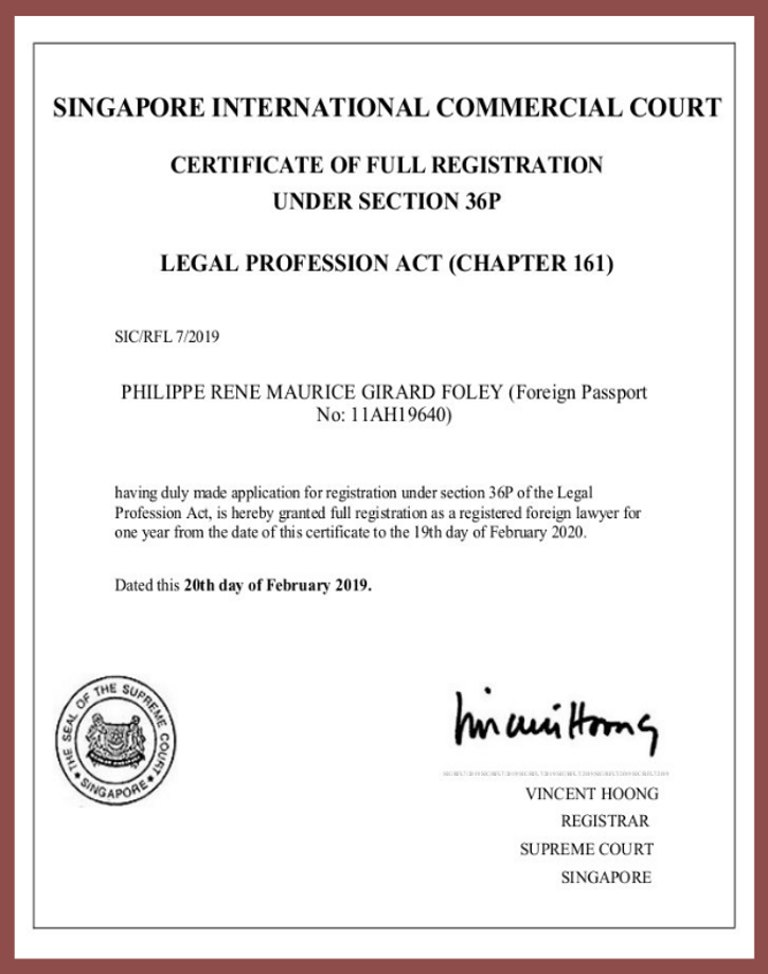 Certificate of Registration Philippe Girard-Foley